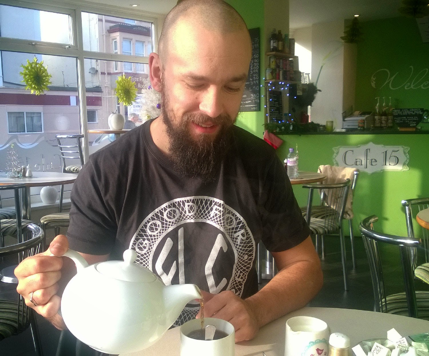 Me with my pot of tea for one
