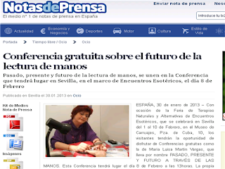 Conferencia gratuita sobre el futuro de la lectura de manos. Maria Luisa Martin Vargas