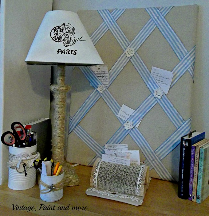 Vintage, Paint and more... DIY twine wrapped lamp, stenciled lamp shade, recycled tin cans, recycled book page note holder
