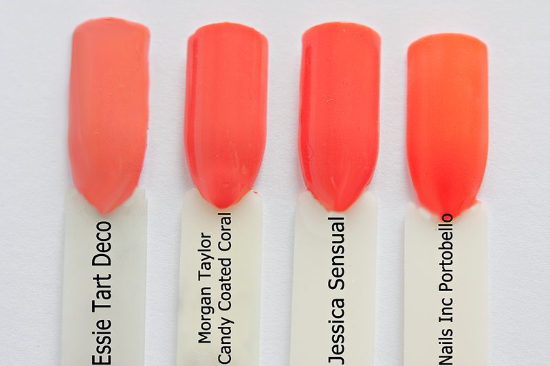 Morgan Taylor nail lacquer Candy Coated Coral comparison