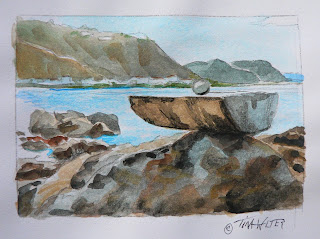 """World on a Platter"" 3""x 4.25"" watercolor sketch on paper ©2015 Tina M Welter  Rock cairns around Island Bay, New Zealand."