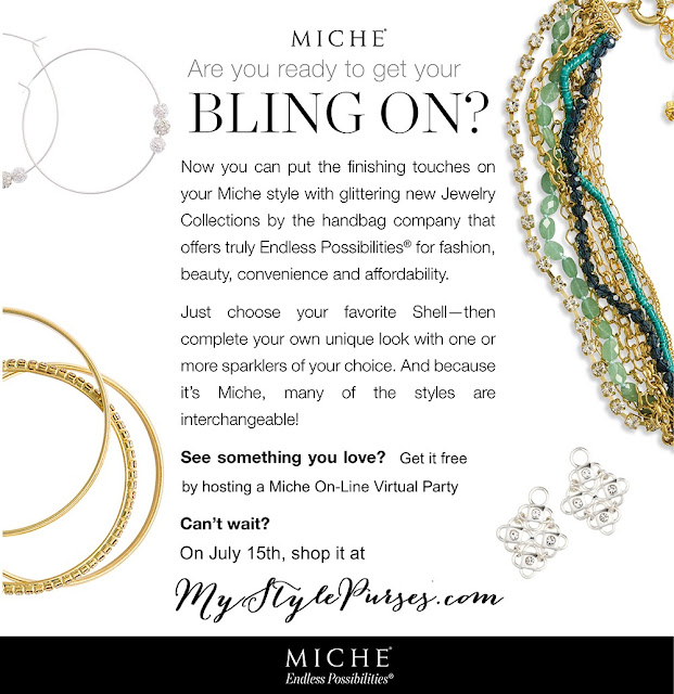 Miche Jewelry Debut - Are you ready to get your bling on?  Shop MyStylePurses.com starting July 15, 2013