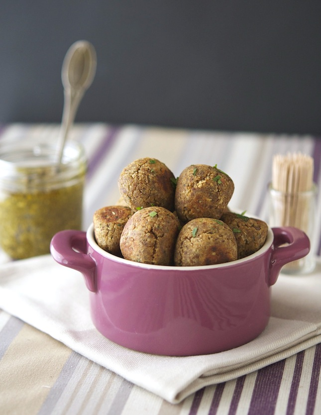 "Lentil ""Meatballs"" With Light Pesto"