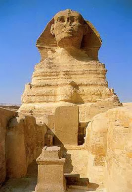 A frontal view of the Great Sphinx at Giza in Egypt