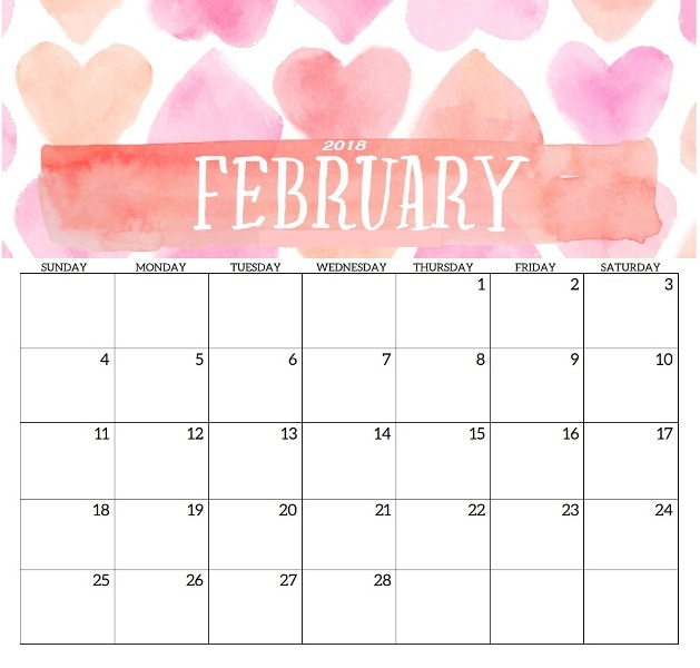 February 2018 Calendar Printable Holidays Pdf Word Get