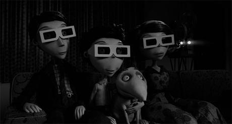 "Homenaje al 3d en la película ""Frankenweenie"" de Tim Burton"