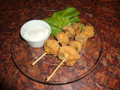Breaded Mushrooms on a Stick