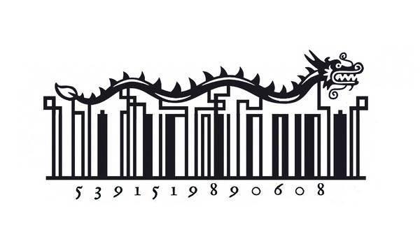 barcodes bentuk kartun naga