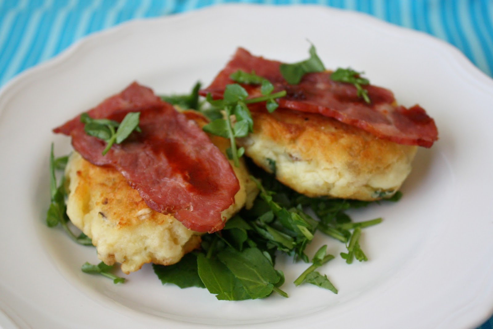 Emerald Rice Cooking: potato cakes with bacon and watercress
