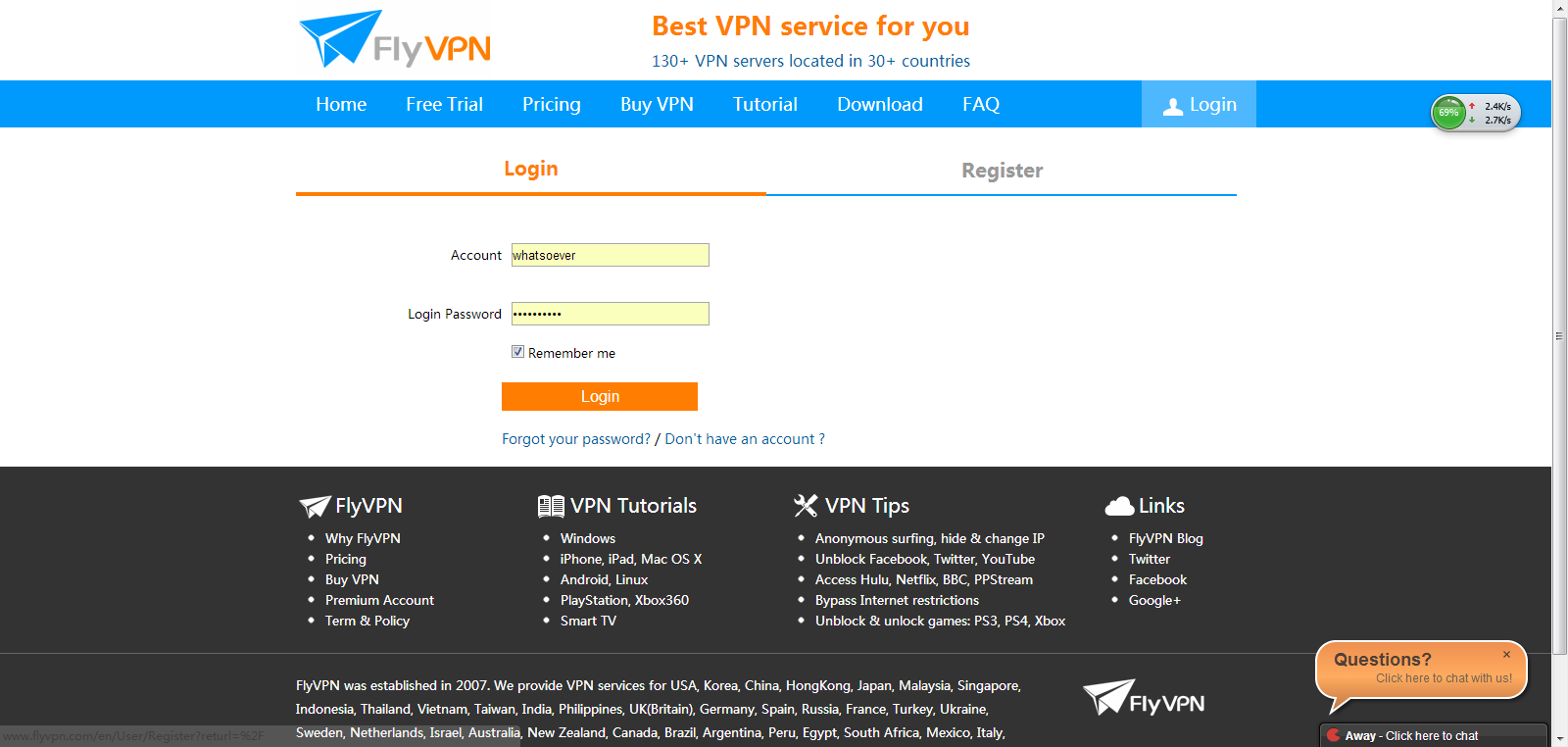 Register your own account for FlyVPN