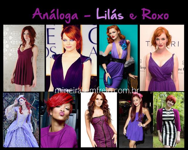 Como combinar o cabelo vermelho com roupas roxas e lilás por Mineira sem Freio