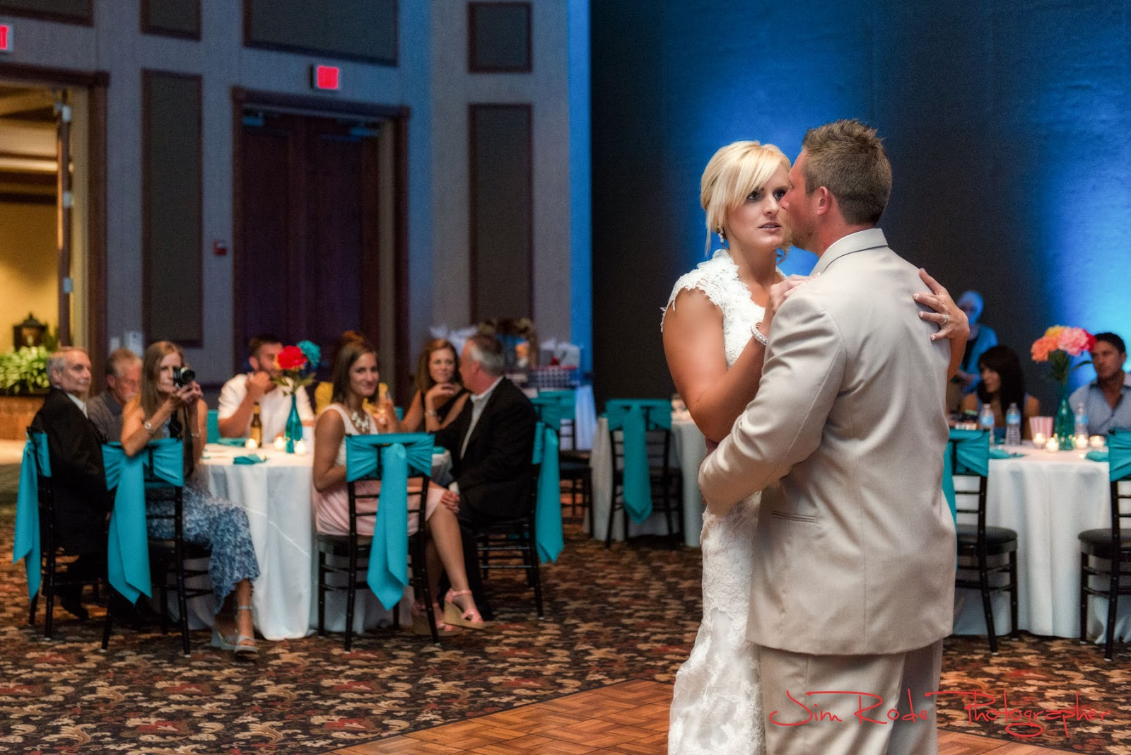 the first dance in the ballroom at the Grand Prairie wedding.
