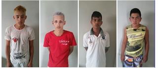 Quatro jovens são presos acusados de depredar residências e quebrar praça pública em Sossego