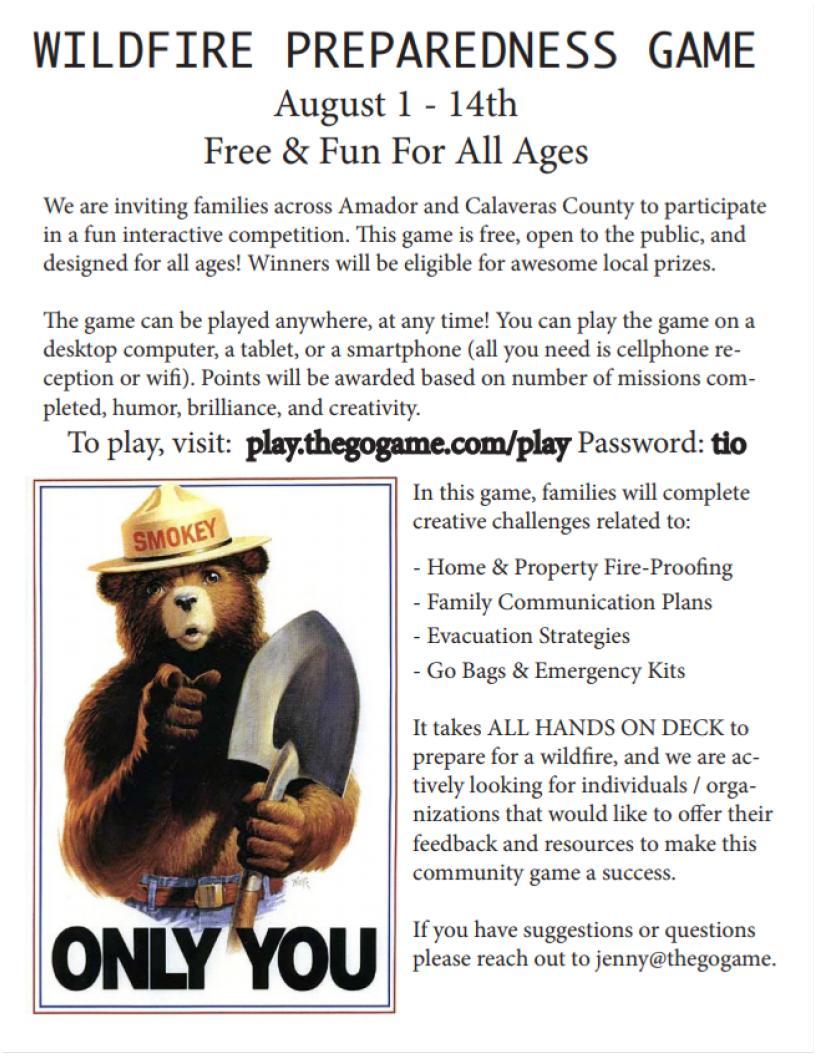 Wildfire Preparedness Game - Aug 1-14