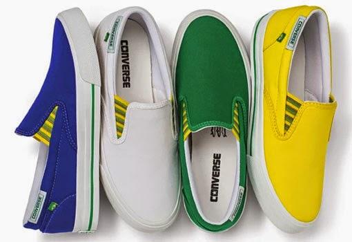 Converse coleção Brasilidade para o Mundial Brasil sem cardaço nas cores verde amarelo azul e branco
