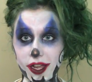easy joker clown Halloween makeup style for girls
