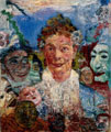 James Ensor (29 años) - Anciana con máscaras (1889)
