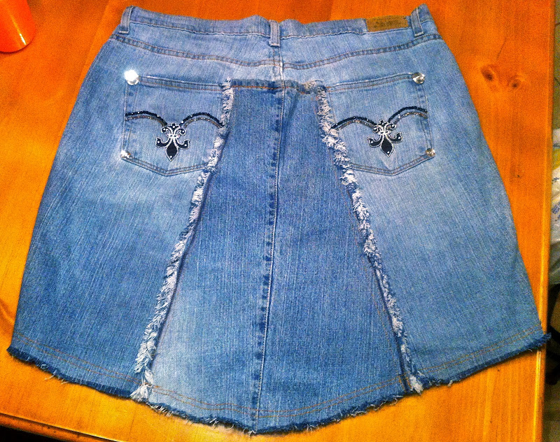 d.i.y. levi jeans turned into jeweled skirt, designer skirt, bling bling on jeans, jeweled jeans