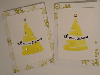 Olive green Christmas card with watercolour tree shape