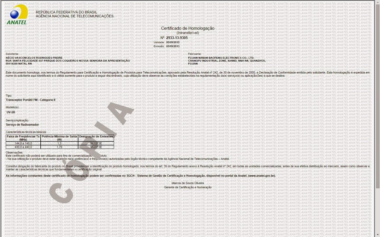 Certificado de Homologação