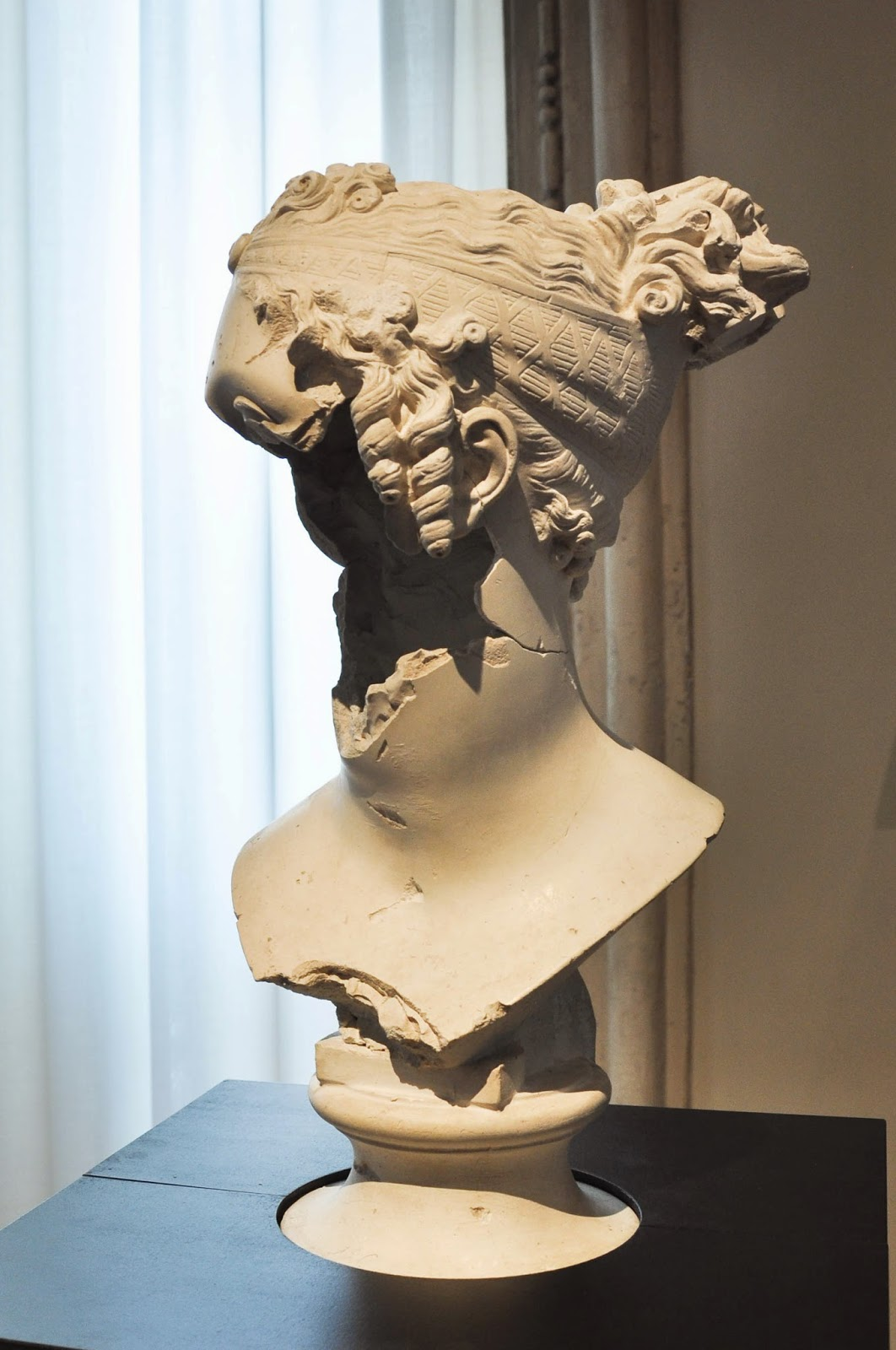 A bust by Antonio Canova, damaged in the bombings of 1917, Gallerie D'Italia in Palazzo Leoni Montanari, Vicenza, Italy