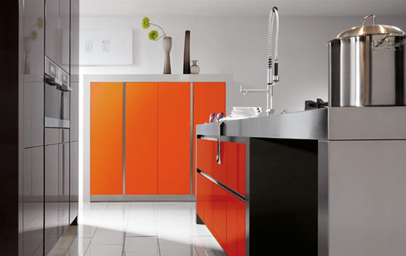 modern house luxury orange interior design kitchen