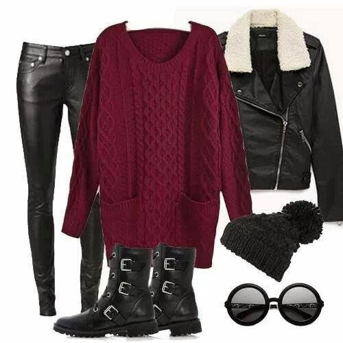 Adorable Outfit - Long Sweater and Leather Pants, Black Coat and Boots