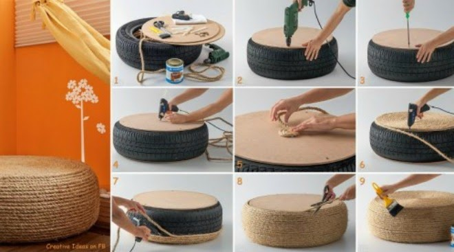 The seats made by the rope and used wheel | Vietnam Outdoor Furniture