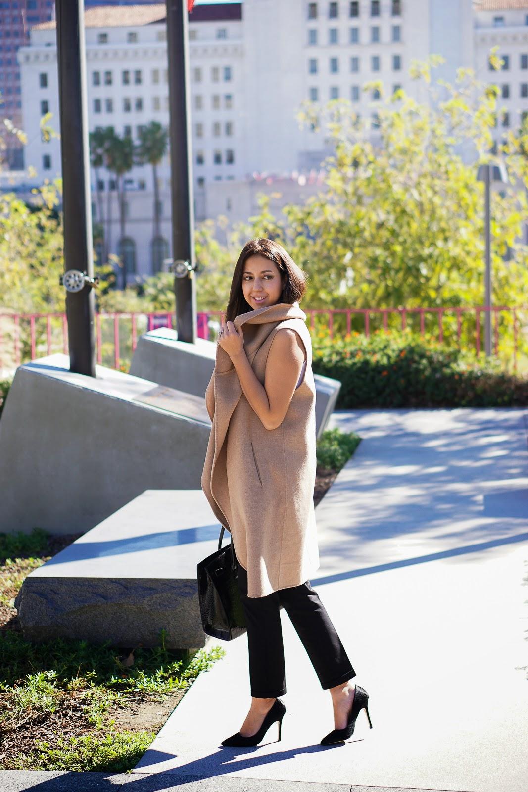 Lookbook, Zara Camel Vest, Camel Vest, Zara Vest, Shoemint Heels, Black Heels, Black Pumps, Aldo Bag, Zara Hand Made Long Waistcoat, Zara Camel Waist Coat, How to Style a Camel Vest,