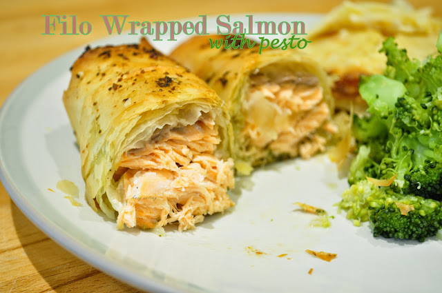 filo wrapped salmon with pesto