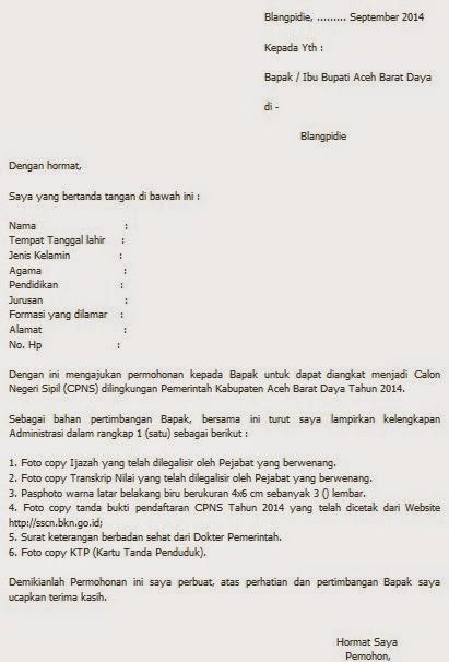 Contoh Surat Lamaran CPNS Kabupaten Aceh Barat Daya ...