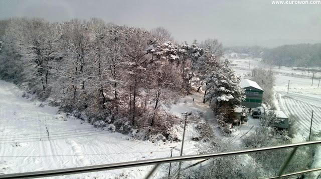 Paisaje nevado de Corea