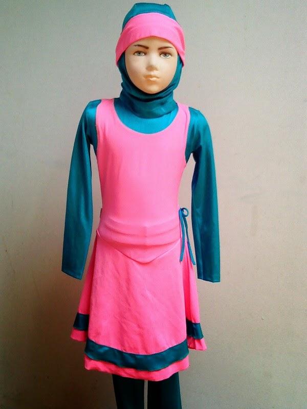 Baju renang muslim anak perempuan warna pink tosca