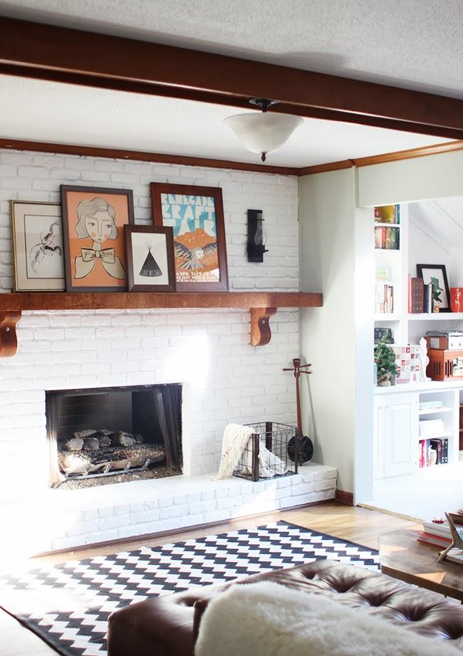 M a i e d a e project home fireplace makeover - Brick wall fireplace makeover ...
