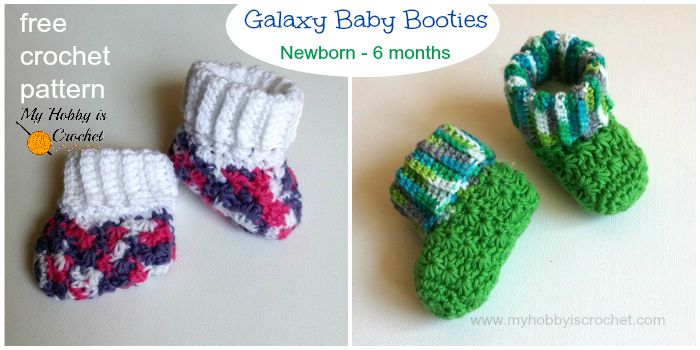 My Hobby Is Crochet Galaxy Baby Booties Free Crochet Pattern