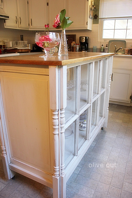 Cute kitchen island from old windows