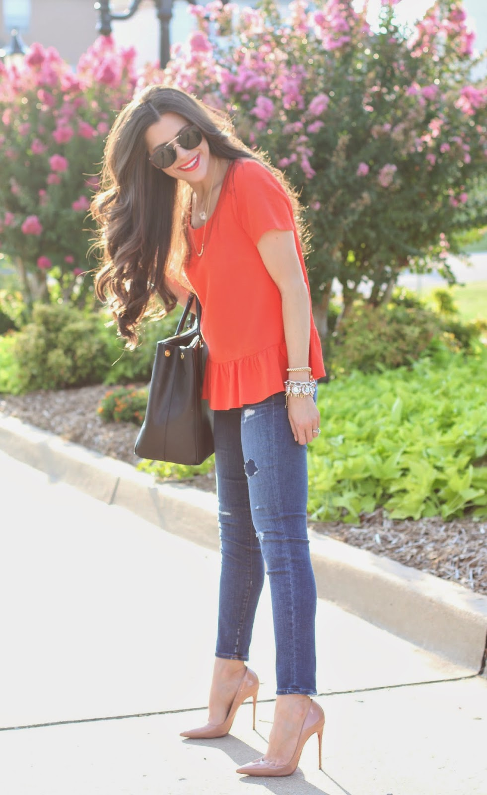 emily gemma blog, sweetest thing blog, christian louboutin so kate, nude pumps, nude louboutins, sole society sunglasses, j.crew jeans, jcrew jeans, orange ruffle top, anthropologie top, prada bag, black prada bag, black prada executive tote, nars heat wave, bauble bar necklaces