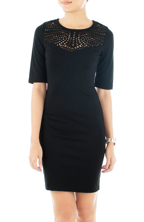 Sweetheart Perforated Dress – Classic Black
