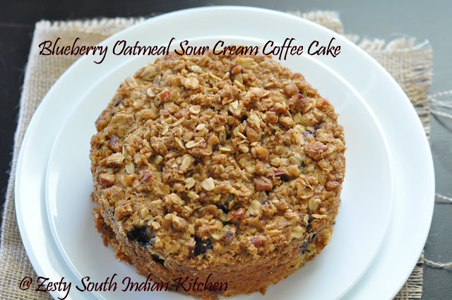 Blueberry Oatmeal Sour cream Coffee Cake with Oats Pecan streusel ...