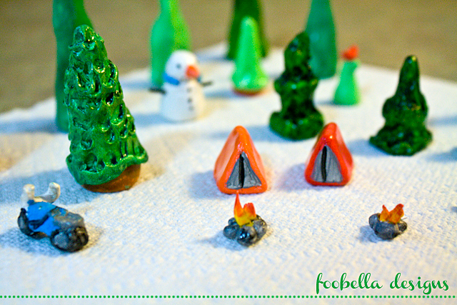 polymer clay trees snowman tent campfire motorcycle via www.foobella.blogspot.com