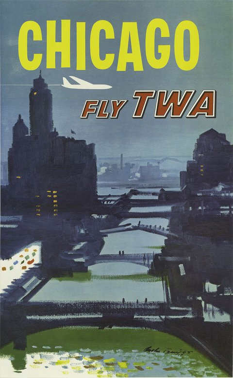 classic posters, free download, graphic design, retro prints, travel, travel posters, vintage, vintage posters, Chicago Fly TWA - Vintage Travel Poster