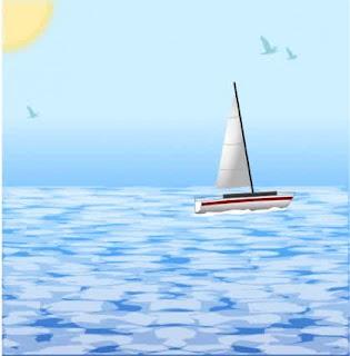 Laut yang mempunyai ombak yang besar dan perahu lawan