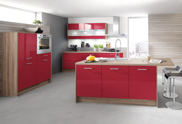 Cocinas modernas color rojo colores en casa - Cocinas de color rojo ...