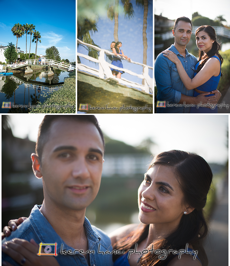 Reflection shots and racked focus of an engaged couple at the Venice Canals