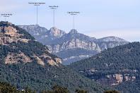 Zoom vers el nord-est per captar els tres cims emblemàtics dels Rasos de Peguera: La Torreta dels Enginyers, la Roca d'Auró i el Cogulló d'Estela