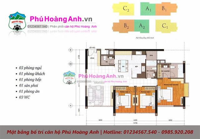 mặt bằng bố trí Phú Hoàng Anh 3PN