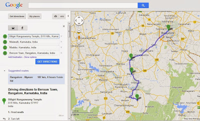Car drive from BR Hills to Bangalore via Yellandur, Kollegal and Maddur