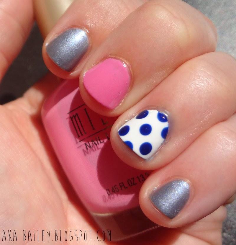 Nail polish, blue, pink, blue polka dots