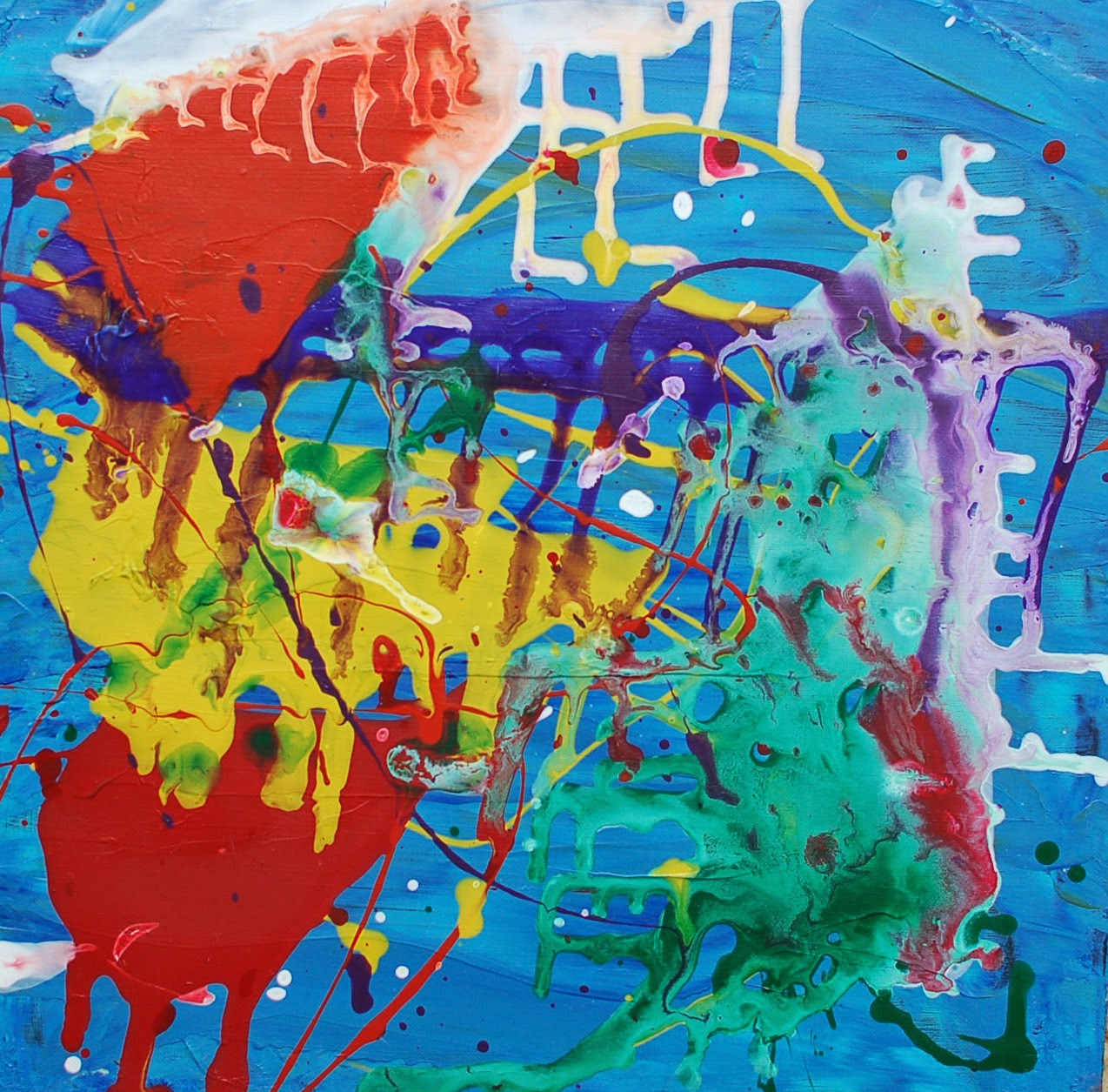 abstract painting with kids including more splatter painting - Painting Pics For Kids