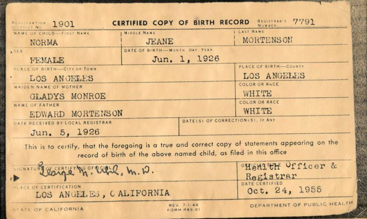 Marilyn monroe birth certificate vintage everyday according to the original caption monroes film studio 20th century fox stated that her father died when she was a baby but this certificate shows that yadclub Choice Image